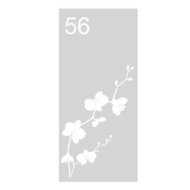 Zandstraal raamsticker orchidee en huisnummer naar wens