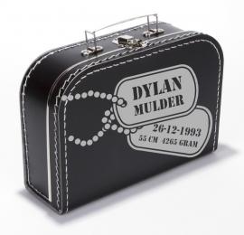 Koffertje met nametags en tekst naar wens