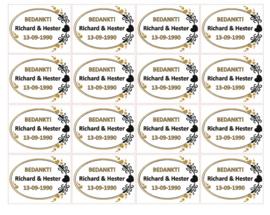 Vel bedankstickers huwelijk met namen en datum