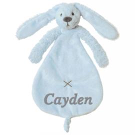 Happy horse knuffeldoekje konijn Ritchie blue geborduurd met naam naar wens