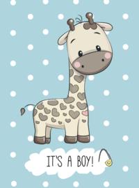 Kaart 'It's a boy giraffe'