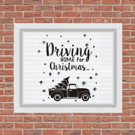 Herbruikbare Sticker 'Driving home for Christmas'