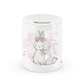 Baby Stars - Powder Pink Bunnies Spaarpot