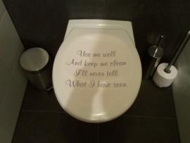 Sticker use me well voor het toiletdeksel
