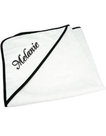 Badcape Wit /zwart randje met naam/ontwerp naar wens.
