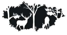 Sticker herten landschap groot