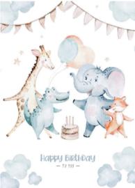 Kaart Happy birthday diertjes