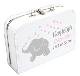 Koffertje Olifantje hartjes met gegevens naar wens