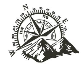 Sticker windroos met bergen