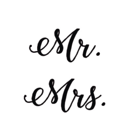 Set van 2 stickers 'Mr. & Mrs.'