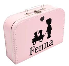 Koffertje meisje met kar