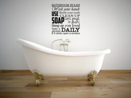 Badkamer sticker Bathroom rules
