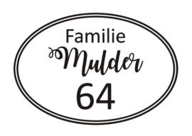 Sticker Familinaam met huisnummer in ovaal
