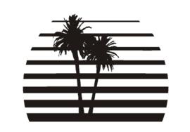 Sticker zon met palmbomen
