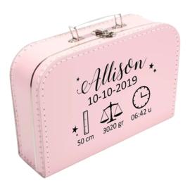 Koffertje 'Naam met geboortegegevens'