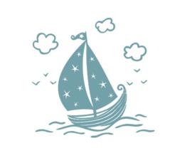 Muursticker sailor zeilbootje