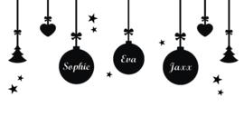 Statische raamfolie - Kerstballen met namen naar wens