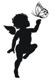 Sticker engelbaby met vlinder