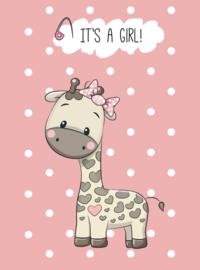 Kaart 'It's a girl Giraffe'