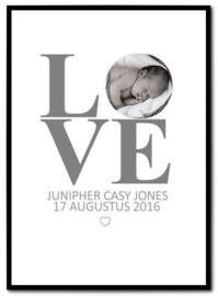 Poster Love met foto kindje en gegevens
