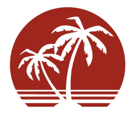 Sticker zon met palmen