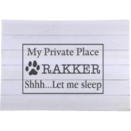 Sticker my private place met hondenaam