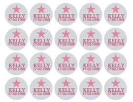 Velletje bedrukte stickers met ster naam en datum naar wens
