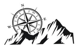 sticker kompas met bergen