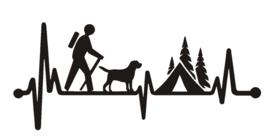sticker wandelaar hiker heartbeat