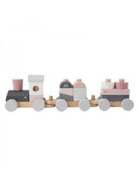 Label-label Houten treintje roze met gegevens naar wens