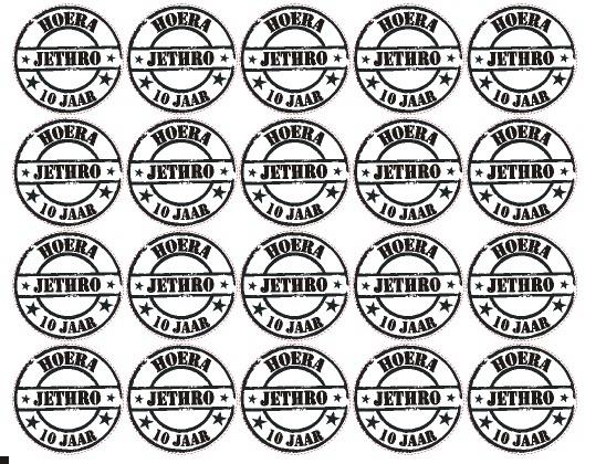 Velletje bedrukte stickers stempel hoera met naam
