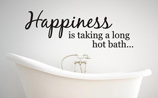 Muursticker Happiness is taking a long hot bath...