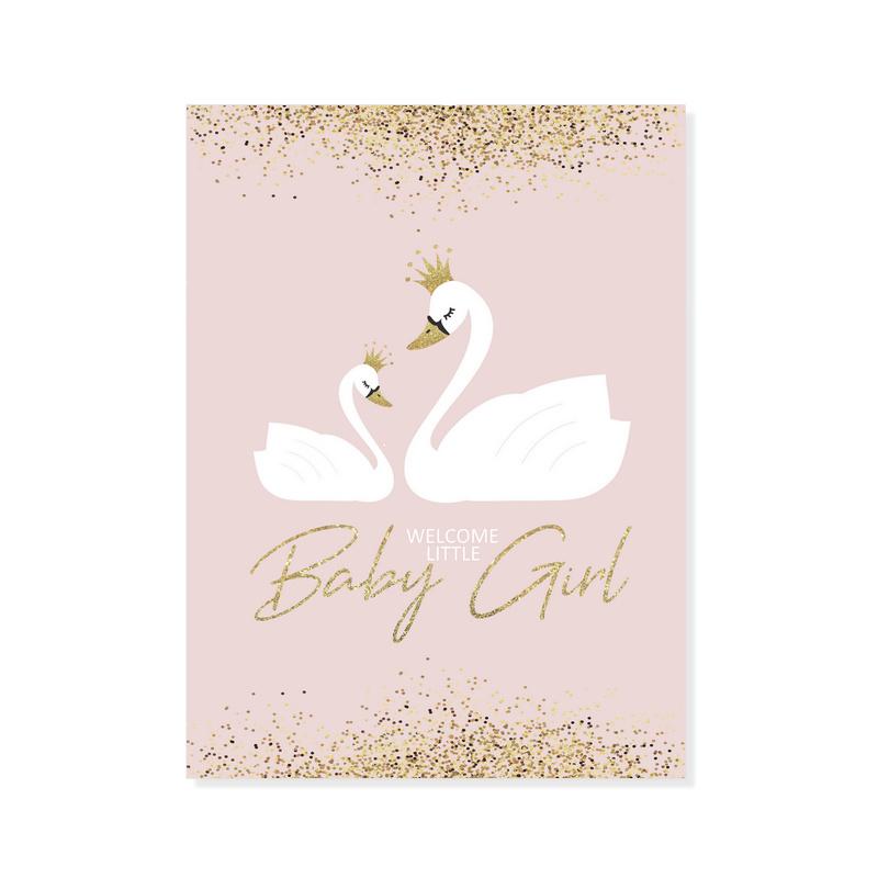 Kaart - Zwaantjes 'Welcome little baby girl'