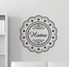 Sticker barok bloem / kader met woord naar wens