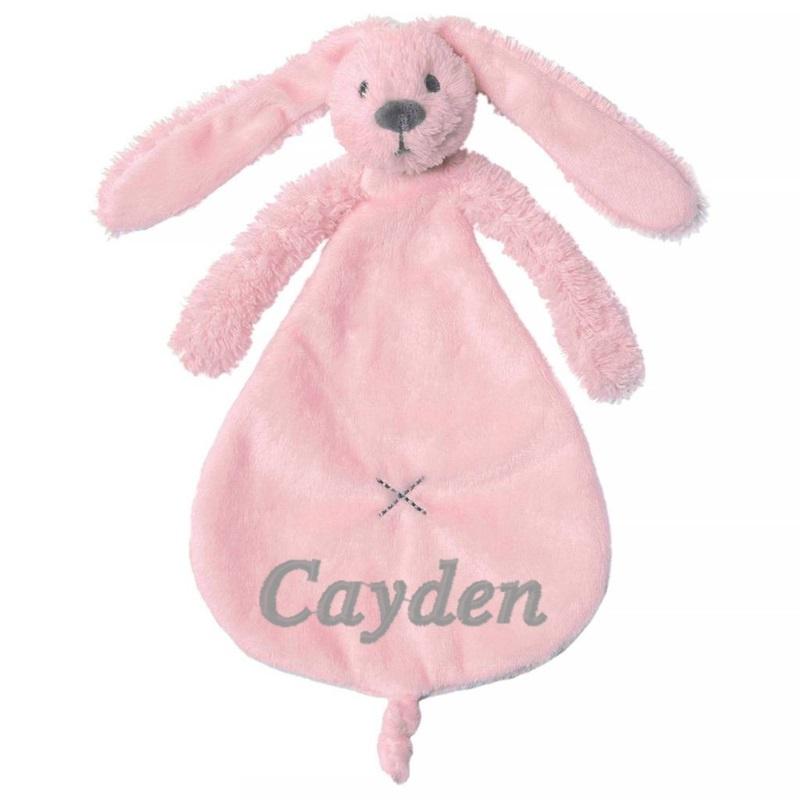 Happy horse knuffeldoekje konijn roze met / zonder naam naar wens