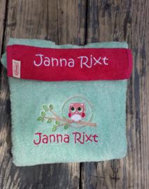 Kraampakket Luxe badponcho met slab Uiltje met naam