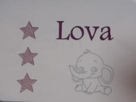 Lakentje met naam 'sterren en olifantje'