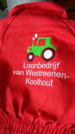 Kinderoverall 'tractor' kan met naam