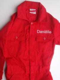 Kinder overall Rood kan ook  met naam borduren