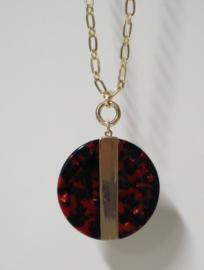 Sweet7 lange ketting art. 70013 - goudkleur/rood