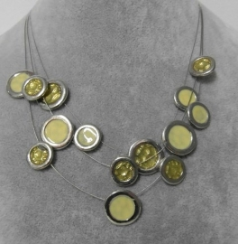 Halsketting art. 11200841 - zilverkleur/limoengroen