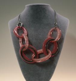 Schakelketting art. 350550 - roze/zilverkleur
