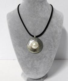Halsketting art. 8515 - zwart/zilverkleur/crème