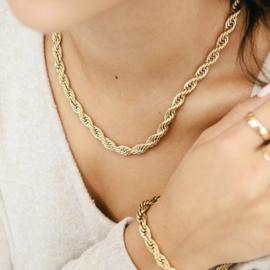 Halsketting gedraaid art. 12010 -goudkleur