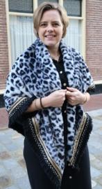 Omslagdoek Leopard Luxury art. 2883  - zwart/grijs