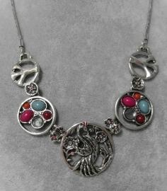 Halsketting art. 3133 - zilverkleur/gekleurde steentjes