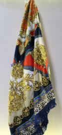 Romano damesshawl  art. 3673-90-76 - navy/geel/oranje/rood