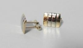 Manchetknopen dames/heren rechthoekig - goud/zilverkleur