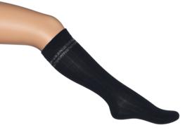 Bonnie Doon kniekous met lurex strepen art. 85.35.13 - zwart/zilver