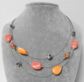 Halsketting art. 8385 - zilverkleur/oranje/zalm
